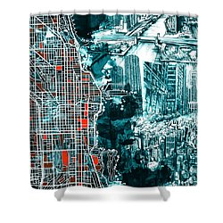 Chicago Map Drawing Collage Shower Curtain