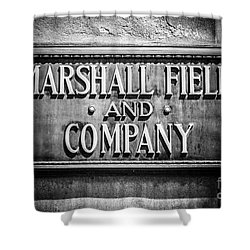 Chicago Marshall Field Sign In Black And White Shower Curtain by Paul Velgos