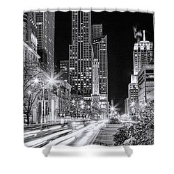 Chicago Michigan Avenue Light Streak Black And White Shower Curtain by Christopher Arndt