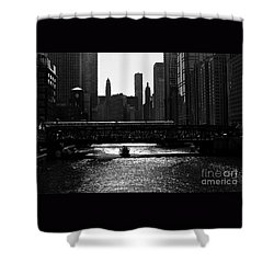 Chicago Morning Commute - Monochrome Shower Curtain