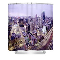 Chicago Night Shower Curtain by Jon Neidert