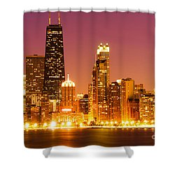 Chicago Night Skyline With John Hancock Building Shower Curtain