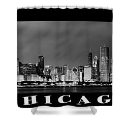 Chicago Panorama At Night Shower Curtain by Sebastian Musial