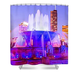 Chicago Panoramic Picture With Buckingham Fountain  Shower Curtain by Paul Velgos