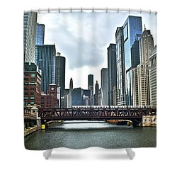 Chicago River And City Shower Curtain