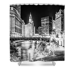 Chicago River Buildings At Night In Black And White Shower Curtain by Paul Velgos