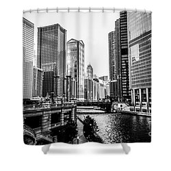 Chicago River Buildings In Black And White Shower Curtain by Paul Velgos