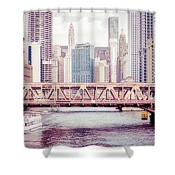 Chicago River Skyline Vintage Panorama Picture Shower Curtain by Paul Velgos