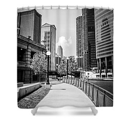 Chicago Riverwalk Black And White Picture Shower Curtain by Paul Velgos
