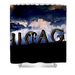 Chicago Sign Sunset Shower Curtain by Kristie  Bonnewell