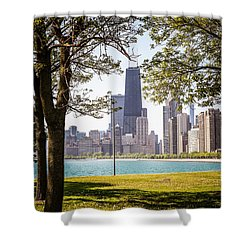 Chicago Skyline And Hancock Building Through Trees Shower Curtain