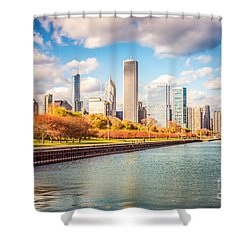 Chicago Skyline And Lake Michigan Photo Shower Curtain by Paul Velgos