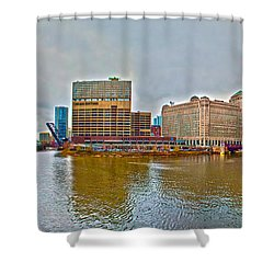 Shower Curtain featuring the photograph Chicago Skyline And Streets by Alex Grichenko