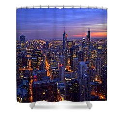 Shower Curtain featuring the photograph Chicago Skyline At Dusk From John Hancock Signature Lounge by Jeff at JSJ Photography