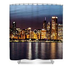 Chicago Skyline At Night Panoramic Shower Curtain