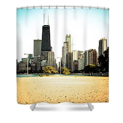 Chicago Skyline At North Avenue Beach Photo Shower Curtain by Paul Velgos