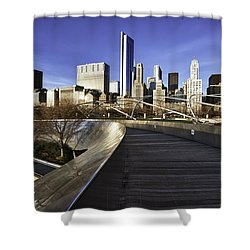 Chicago Skyline At Sunrise Shower Curtain by Sebastian Musial
