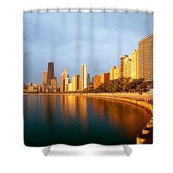 Chicago Skyline Shower Curtain by Sebastian Musial