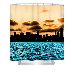 Chicago Skyline Silhouette Shower Curtain by Semmick Photo