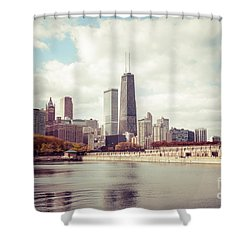 Chicago Skyline Vintage Picture Shower Curtain by Paul Velgos