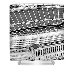 Chicago Soldier Field Aerial Panorama Photo Shower Curtain by Paul Velgos