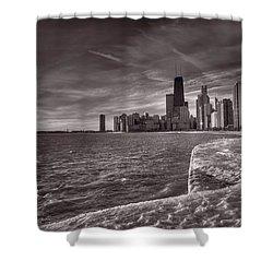 Chicago Sunrise Bw Shower Curtain by Steve Gadomski