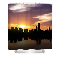 Chicago Sunset Skyline  Shower Curtain by Aged Pixel