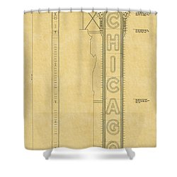 Chicago Theatre Blueprint Shower Curtain