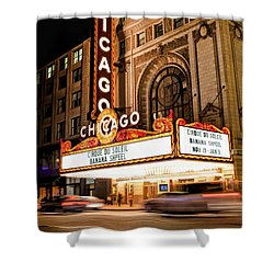 Chicago Theatre Marquee Sign At Night Shower Curtain by Christopher Arndt