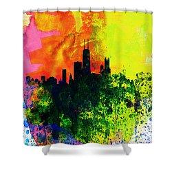 Chicago Watercolor Skyline Shower Curtain by Naxart Studio