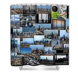 Chicago's Sears Willis Tower Collage Shower Curtain by Thomas Woolworth