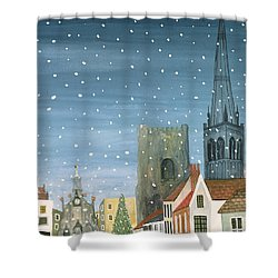 Chichester Cathedral A Snow Scene Shower Curtain by Judy Joel