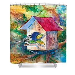 Chickadee Bungalow Shower Curtain