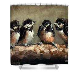 Chickadee Chicks Shower Curtain by Lisa Phillips Owens