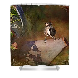 Chickadee Flower Pot Shower Curtain by Debbie Portwood