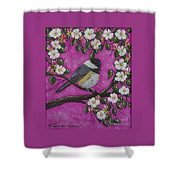 Shower Curtain featuring the painting Chickadee In Apple Blossoms by Jennifer Lake