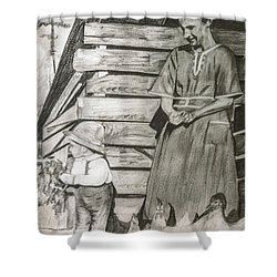 Chicken Coop - Woman And Son - Feeding Chickens Shower Curtain