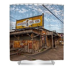 Chicken Oil Company Shower Curtain by Linda Unger