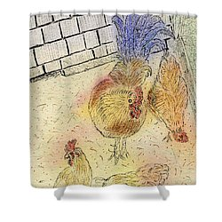 Chickens At Pei Shower Curtain