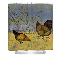 Chickens On Silk Shower Curtain