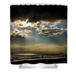 Chick's Beach Morning Shower Curtain by Angela DeFrias