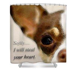 Chihuahua Dog Art - The Thief Shower Curtain by Sharon Cummings