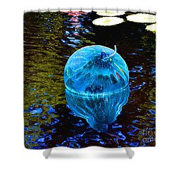 Artsy Blue Glass Float Shower Curtain