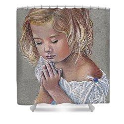 Child In Prayer Shower Curtain by Tonya Butcher