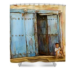 Shower Curtain featuring the painting Child Sitting In Old Zanzibar Doorway by Sher Nasser