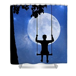 Childhood Dreams 2 The Swing Shower Curtain by John Edwards