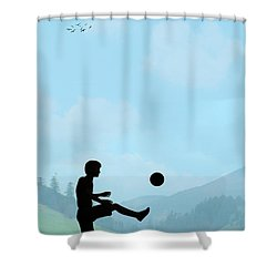 Childhood Dreams Football Shower Curtain by John Edwards