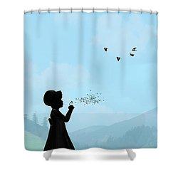Childhood Dreams One O Clock Shower Curtain by John Edwards
