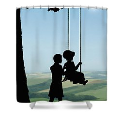 Childhood Dreams Push Me Shower Curtain by John Edwards