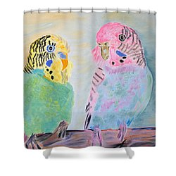 Childhood Parakeets Shower Curtain by Meryl Goudey